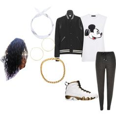 Mickey Mouse Swag by swagn23 on Polyvore featuring polyvore, fashion, style, Yves Saint Laurent, Markus Lupfer, River Island and Jennifer Zeuner