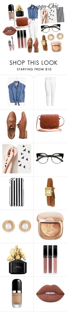 """Preppy-Chic"" by melindau on Polyvore featuring moda, Madewell, H&M, Gap, MICHAEL Michael Kors, Gucci, Oscar de la Renta, Marc Jacobs, Lime Crime y Maybelline"
