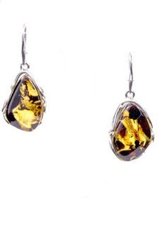 Natural Baltic Amber and Sterling Silver Earrings