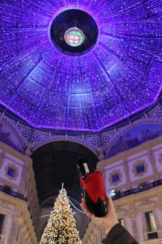 #Milano the Galleria lit up and #Lurabo Burlington slipper in patent in red pony ready for New Year's Eve!