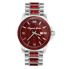 The perfect combination of style and class, this watch features polished stainless steel and radiant red rosewood.The anytime, anywhere, always...
