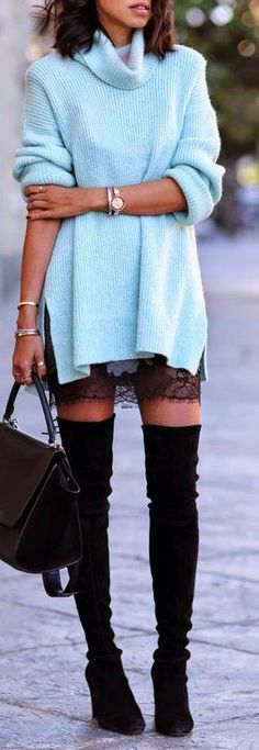 oversized sweater + thigh highs
