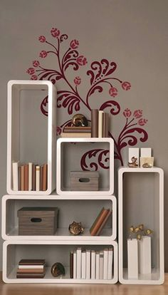 love this storage solution complete with wall stencil