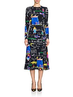 Dolce & Gabbana - Stretch Cady Drawing-Print Dress