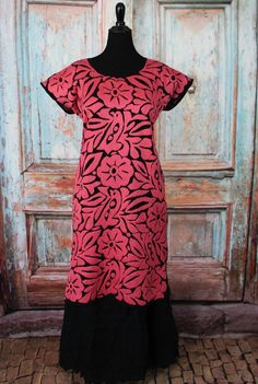Pink & Black Hand Embroidered Huipil Dress Jalapa Oaxaca Mexico Hippie Cowgirl #Handmade #MexicanDress