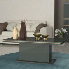 Beau Table Basse Gris Laqué Et Couleur Bois PERGAME 2 Table Basse Grise, Table  Basse Contemporaine