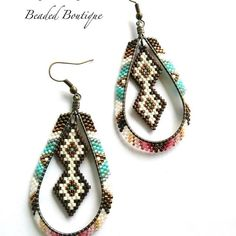 Available #eyecandybeadedboutique #indigenousjewelry #beadedhoops #forsale #southwestchic