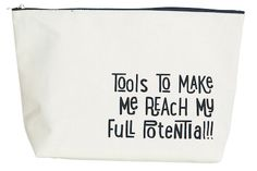 Jumbo make up bag by House Doctor with the printed message 'Tools to help me reach my full potential' printed in black type across the front. Travel Kits, Travel Bag, Reusable Tote Bags, Purses, Shoe Bag, Polyvore, How To Make, Stuff To Buy, Accessories