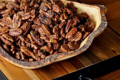 Bourbon Spiced Pecans~ this easy recipe can be made ahead and stored in an airtight container. Served as a snack these tasty nibbles offer an interesting mixture of sugar and spice that reflects the flavors of Kentucky.