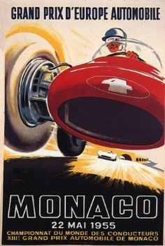 Amazon.com: GRAND PRIX D'EUROPE AUTOMOBILE MONACO 1955 CAR RACE VINTAGE POSTER REPRO: Home & Kitchen