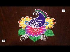 YouTube Simple Rangoli Designs Images, Rangoli Designs Latest, Colorful Rangoli Designs, Rangoli Designs Diwali, Diwali Rangoli, Beautiful Rangoli Designs, Easy Rangoli, Rangoli Borders, Rangoli Border Designs