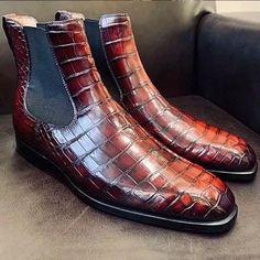 Men's New Fashion Alligator Boots New Mens Fashion, Mens Boots Fashion, Men's Fashion, Men's Shoes, Shoe Boots, Dress Shoes, Shoes Men, Ankle Boots, Mens Short Boots