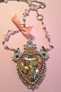 New soft steampunk style necklace by Maggie Akerson of 3rd Street Legacy
