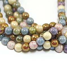 Opaque Lustre Mix 6mm Round Czech Glass Beads x 50 by BeadService