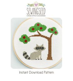 Raccoon Cross Stitch Pattern Instant Download by Sewingseed