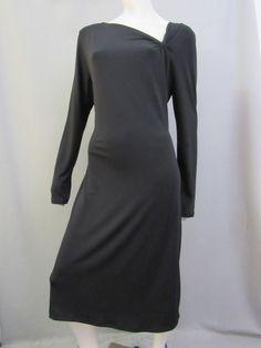 Talbots Dress Size L Stretch Black Career Cocktail Long Sleeve Sheath Lined #Talbots #Sheath #Cocktail