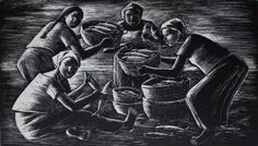 Artwork by Anita Magsaysay-Ho, Woman with Baskets of Fish, Made of Etching Baskets, Fish, Statue, Drawing, Woman, Artist, Artwork, Painting, Work Of Art