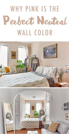 Why Pink (Yes, Pink!) Is the Perfect Neutral When decorating a small studio apartment, you don't wan Studio Apartment Layout, Small Apartment Interior, Small Studio Apartments, Behr Paint Colors, Bedroom Paint Colors, Boho Chic Bedroom, Trendy Bedroom, Neutral Wall Colors, Bright Colors