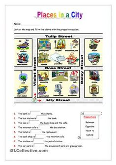 This worksheet aims to practise places in a city as well as prepositons of location such as between, opposite, behnd and next to. There is a map of a city and. Map Worksheets, English Grammar Worksheets, Vocabulary Worksheets, English Vocabulary, Printable Worksheets, English Lessons, Learn English, Teaching Maps, English Activities