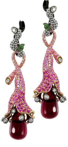 Earrings from the Fleur d'Ete collection in gold 18k with white diamonds, pink sapphire, tsavorite and rubellite drop by MVee