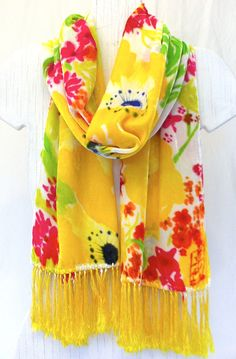 Silk Velvet Scarf Hand Painted. Sunny Yellow Wildflowers. Floral Silk Scarf Fringes. Fall Scarf. Hand Dyed Silk Scarf. 14x72 in. by SilkScarvesTakuyo on Etsy https://www.etsy.com/listing/89789486/silk-velvet-scarf-hand-painted-sunny