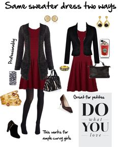 Curvy women and petite women CAN sometimes wear the exact same dresses - it's all in how the dresses are accessorized that counts. In this set, we see the same cute burgundy sweater dress. • Curvy...