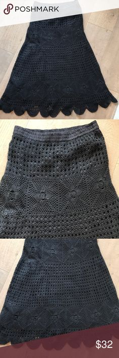 "Boho Crocheted Maxi Skirt - Worn a few Times! Black lining.  Scalloped Bottom.  In perfect condition!  Measurements laid flat:  36.5"" long.  Elastic waist - 16"".  Hips - 19"".  Across bottom - 38"".  Pretty Detail! Boston Proper Skirts Maxi"