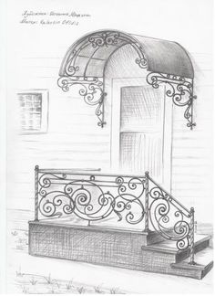 Inspiration for the master wing. The landing would continue to the left as a ramp into porte cochere, planning ahead for old age and wheelchairs if and when needed. Gate Design, Door Design, Exterior Design, Interior And Exterior, House Design, Balustrade Inox, Iron Staircase, Wrought Iron Gates, Iron Furniture