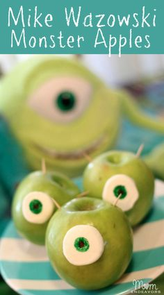 Mike Wazowski Monster Apples - an fun & easy snack!