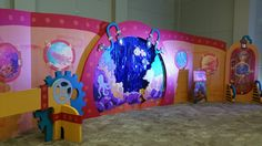 Submerged VBS 2016 Full view of backdrop for the Observation Station (Bible Study). Photo taken at the Lifeway 2016 VBS Preview Event in Fort Worth, Texas.
