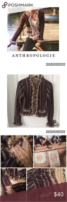 """Anthropologie HWR Fringe Knit cardigan M Gorgeous Anthropologie HWR fringe knit cardigan sweater in maroon and cream with hook & eye closures down the front. Fringed lace around faux front pockets, neck, sleeves, & front. Gently worn but amazing condition! 18"""" flat bust & 21"""" long. Bundle & save💖 Anthropologie Sweaters Cardigans"""