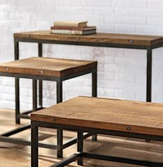A mix of wood and metal makes these tables stand out. Add an end table, coffee table or console table to your living space. HomeDecorators.com #tables