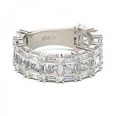 Princess Cut Created White Sapphire Women's Wedding Band #Bands #Coupons #Wedding #Jeulia