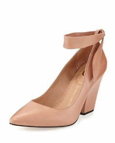 X2BP7 Vince Camuto Signature Shannah Ankle-Wrap Pointy-Toe Pump, Dusty Rose $84