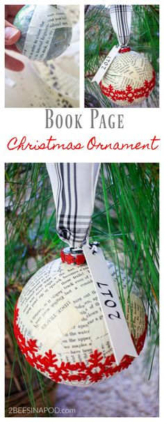 Book Page Christmas Ornament and Exchange. Easy DIY Christmas ornament. Handmade Christmas ornament. Christmas ornament exchange. How to make Christmas ornaments.