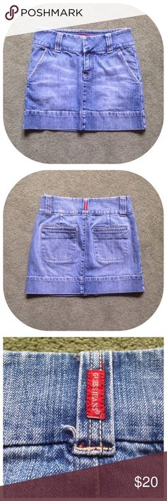 """Guess Jeans Size 24 Denim Mini Skirt Excellent condition; Across waist - 14"""", Across hips - 16"""", Top of waist to bottom of skirt - 13.5""""; Cotton, Spandex...This is not a plus size skirt Guess Skirts Mini"""