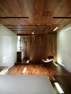 paneled wood bedroom interior
