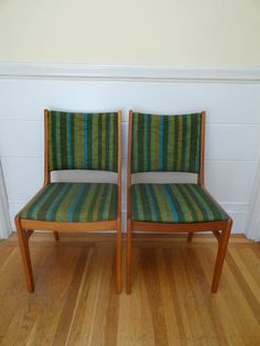 SOLD: Set Of Two Vintage Mid Century Authentic DScan Teak Dining Room Chairs  By JoulesJewels