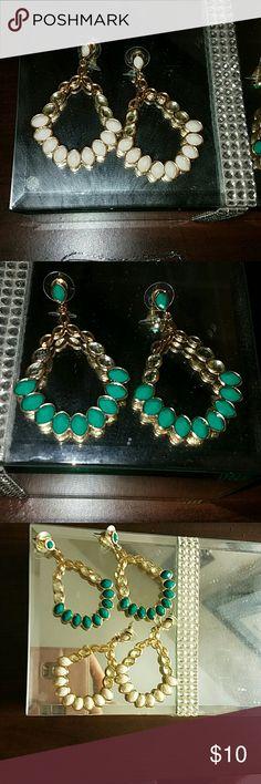 Bundle me~ White/Teal Jewel Swing earrings Earrings worn rarely. Jewelry Earrings
