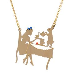 Collection Le Tea Time d'Alice http://shop-n2.lesnereides.com/necklace/3311-alice-and-the-white-rabbit-having-tea-necklace.html