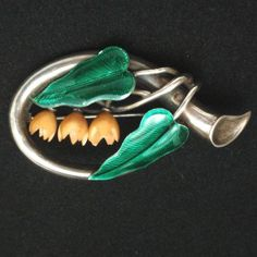 Victorian Silver Pin with Enamel Leaves and Vegetable Ivory Flowers
