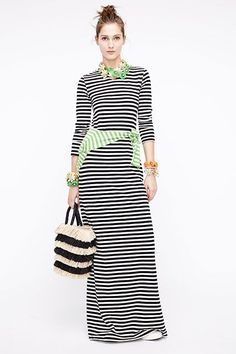 """11 Styling Tips We Learned From J.Crew's Show #refinery29 http://www.refinery29.com/jcrew-spring-16#slide-7 This guy is all, """"I can do stripes better than you."""" Here they are three ways: black and white, green and white, and textured, on a bag. ..."""