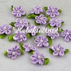 60pcs purple satin ribbon beaded flower with leaf appliques