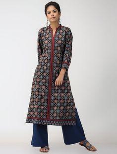 77edacbb131 Buy Black Blue Ajrakh printed Cotton Kurta Women Kurtas Online at  Jaypore.com
