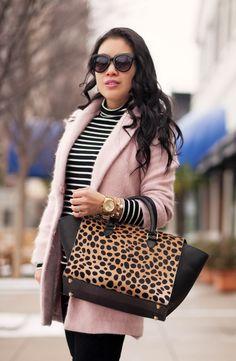 cute & little blog | petite fashion | pink wool coat, black white striped turtleneck, clare v leopard sandrine satchel, white pumps | winter outfit