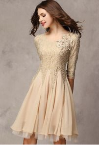 Khaki Half Sleeve Lace Bead Chiffon Dress