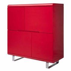 Wandkast LIES is een hippe en opvallende wandkast in hoogglans rood #woonexpress #rood #kast #opbergen