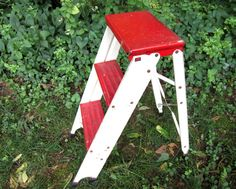 Vintage Step Ladder, Red And White Metal Folding Step Stool, Shabby Chic Chippy…