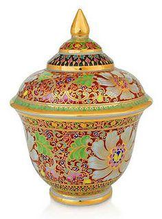 Benjarong porcelain jar, 'Blooming Autumn' by NOVICA
