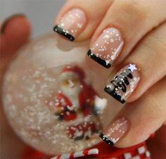 Winter Christmas Acrylic Nail Designs, Ideas 15-Simple-Christmas-